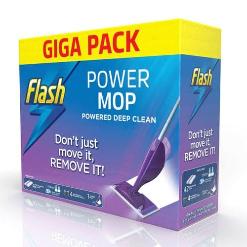 Flash Power Mop Giga Pack with 42 Pads, Cleaning Solution & Powermop